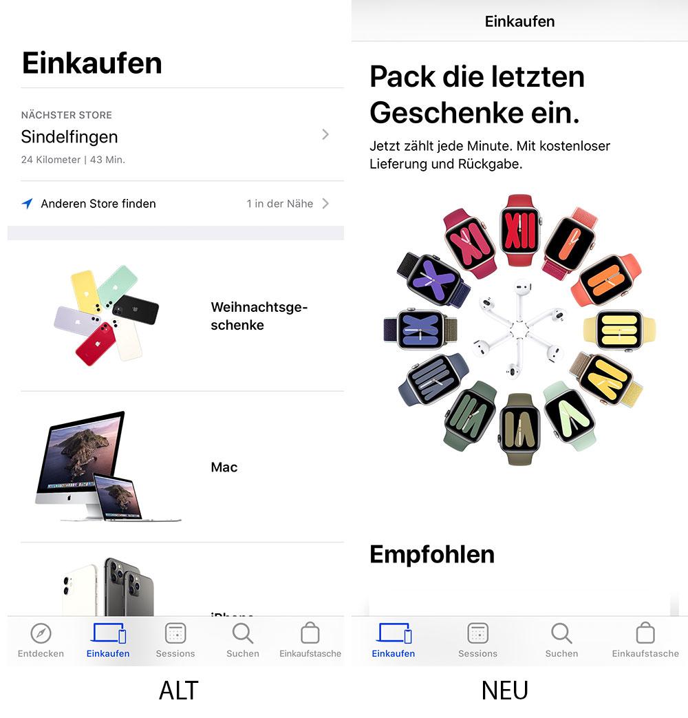 Apple Store App Alt Neu