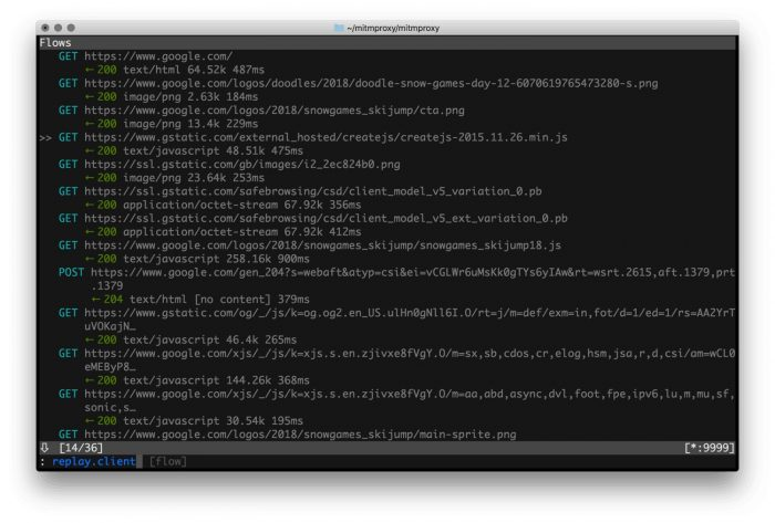 Mitmproxy Screenshot