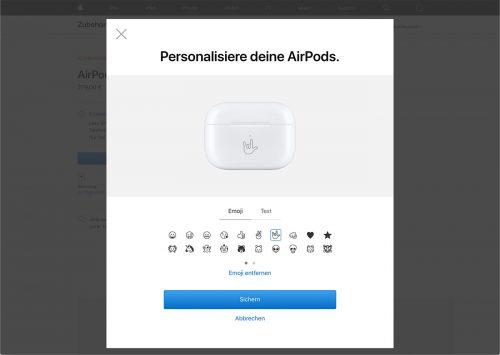 Airpods Huelle Mit Emoji Gravur Apple