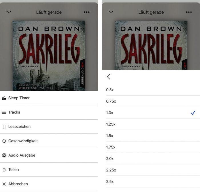 Eary Wiedergabegeschwindigkeit Spotify Hoerbuecher