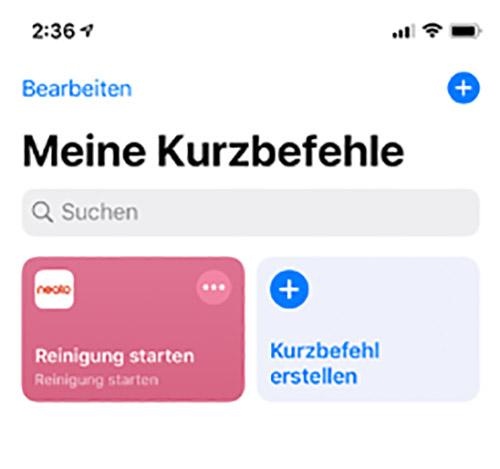 Neato Siri Kurzbefehl