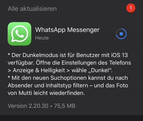 Wahtsapp Dunkel Update