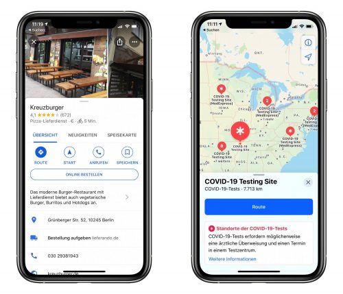 Apple Google Karten