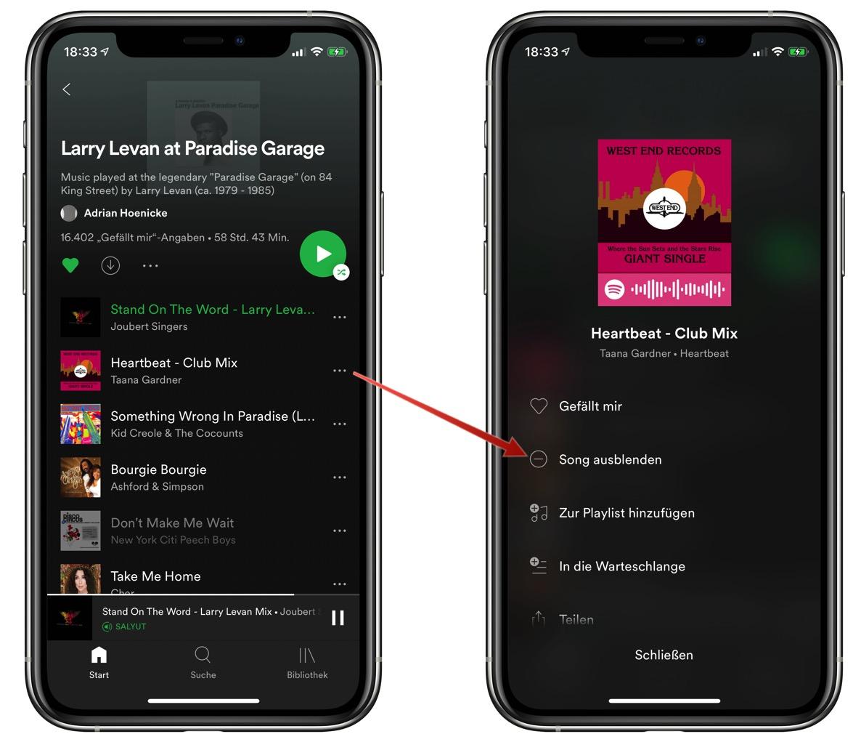 Spotify Song Ausblenden
