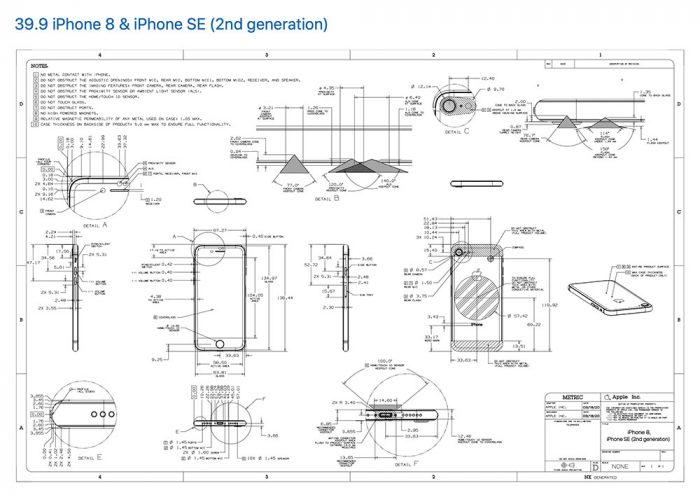 Technische Zeichung Iphone Se