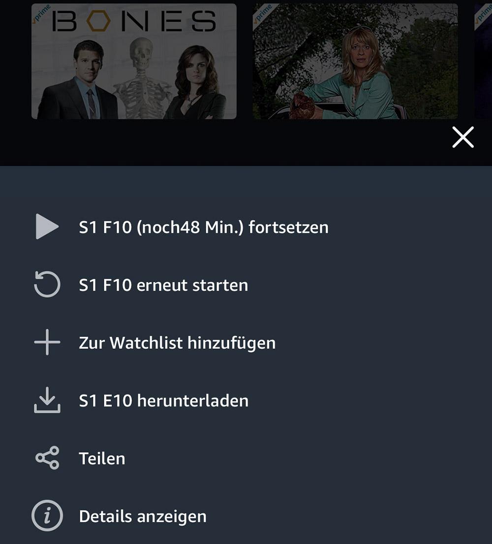 Amazon Prime Video Aktionsmenue