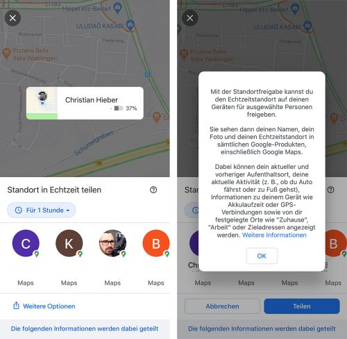 Google Maps Standortfreigabe Ios