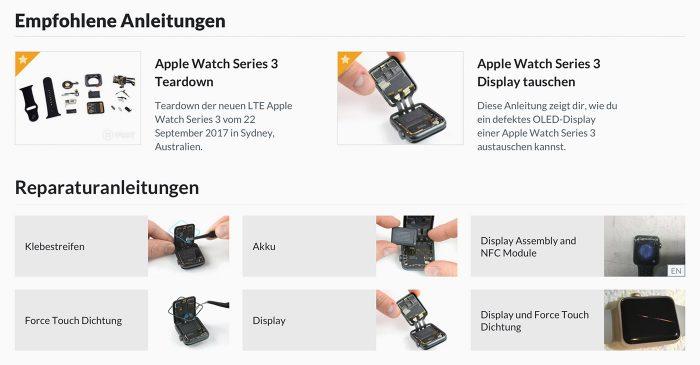 Apple Watch Reparaturaenleitungen