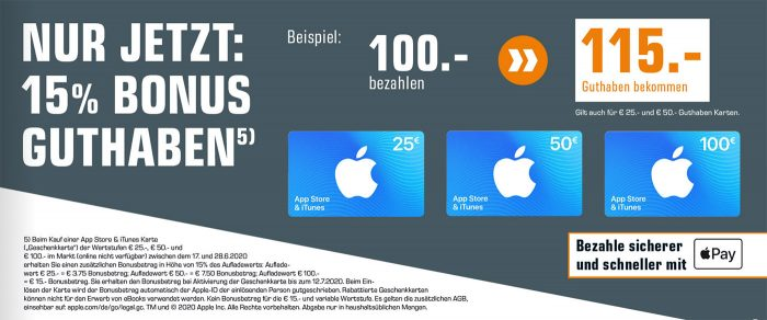 Saturn Apple Guthaben Mit Bonus