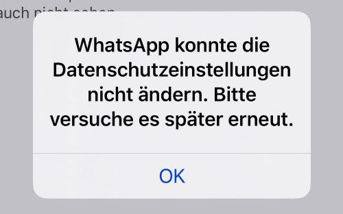 Whatsapp Datenschutz Problem Fehlermeldung