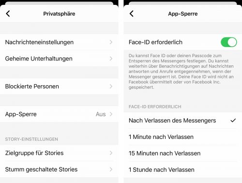 Facebook Messenger App Sperre