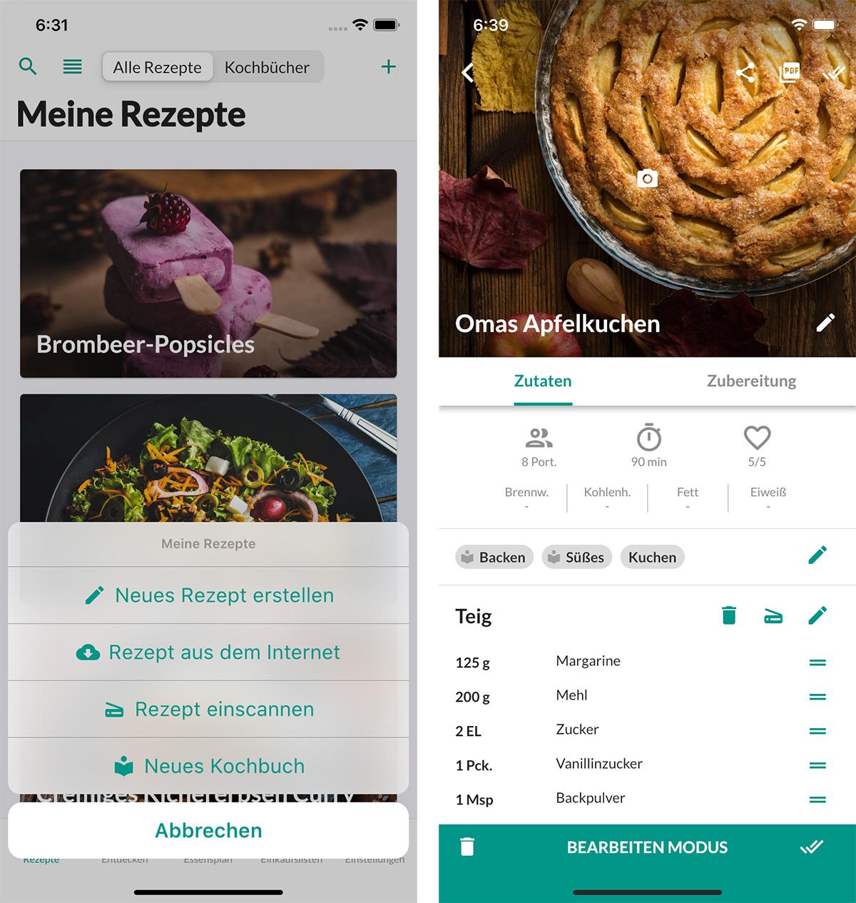 Koerbchen App Rezeptsammlung Iphone