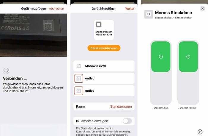Meross Homekit Steckdose Aussen Home App