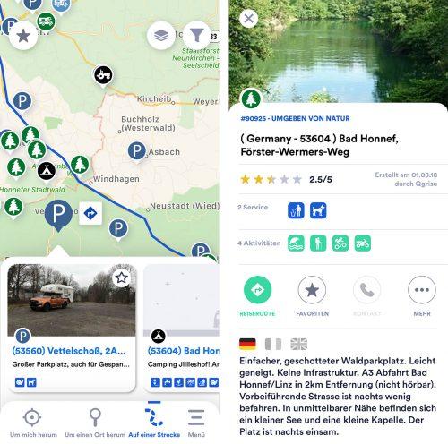 Park4night App Detail Streckensuche