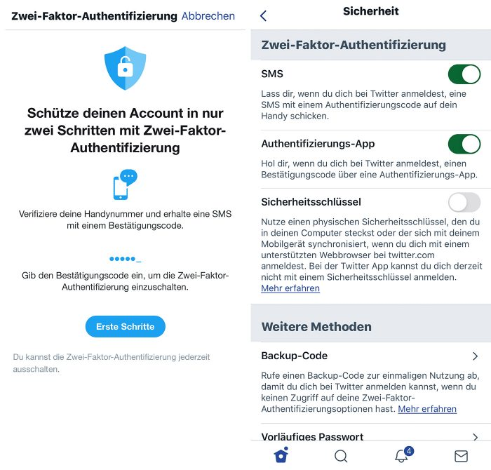 Twitter Zwei Faktor Authentifizierung Aktivieren Iphone