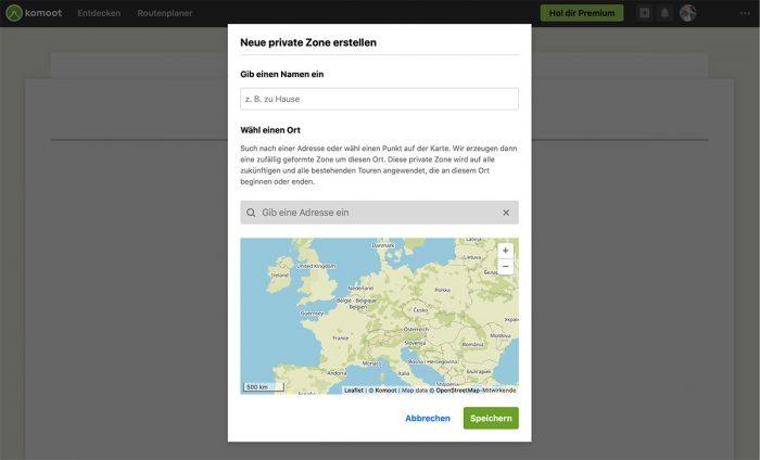 Komoot Private Zone Erstellen
