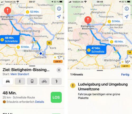 Apple Karten Umweltzonen Navigation