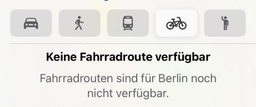 Apple Maps Karten Fahrradrouten Deutschland