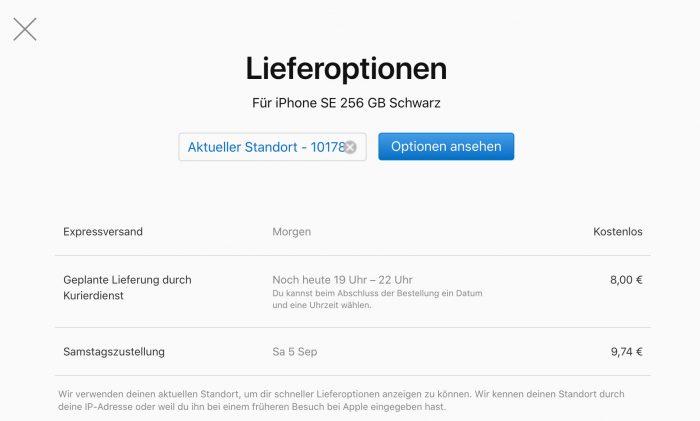 Lieferoptionen Iphone