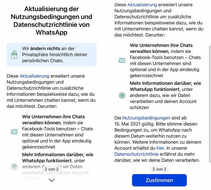 Whatsapp Nutzungsbedingungen Aenderungen Mai 2021