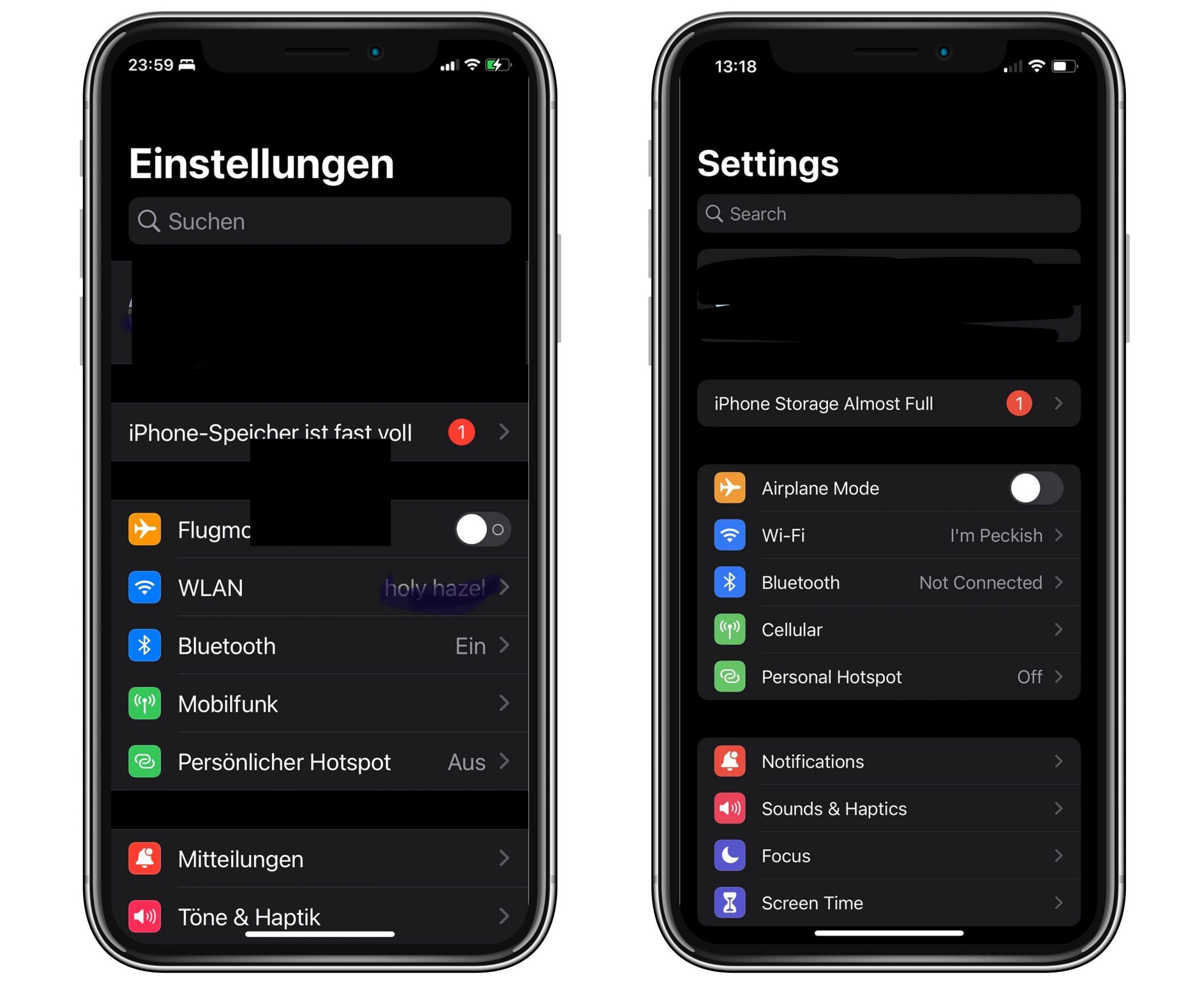 """iPhone Speicher fast voll: iOS 15 mit großen """"Systemdaten"""" und falscher Speicherplatz-Warnung"""