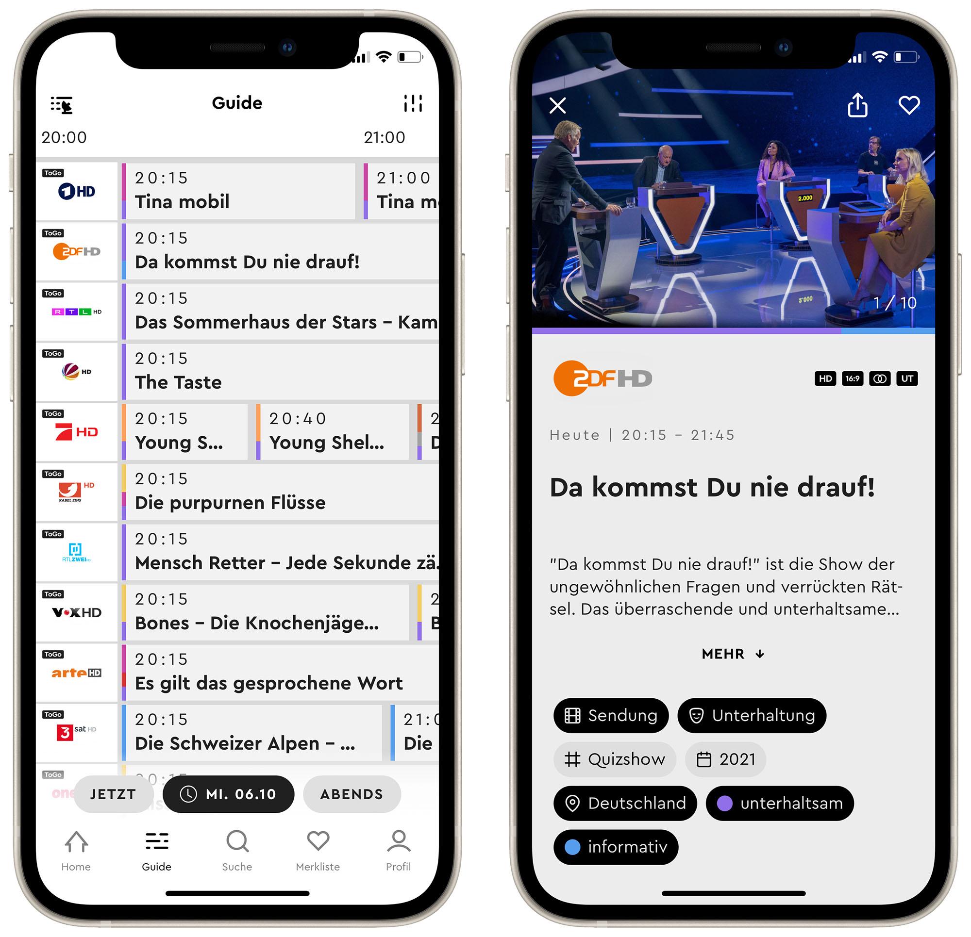 Gute TV Programm App HD+ integriert Live TV › iphone ticker.de